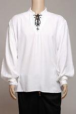 Casual Renaissance Pirate White Shirt Capitaine Caribbean Blanc Chemise Men
