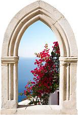 Sticker mural trompe l'oeil Arche déco fleurs réf 895