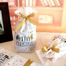 10Pcs Santa Claus Christmas Bag Drawstring Elk Present Gift Candy Bags Decor