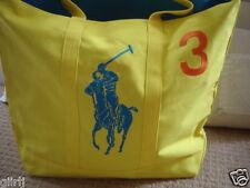 ⭐ Ralph Lauren ⭐ il big pony GIALLO 3 TOTE shopping Bag a libro ⭐