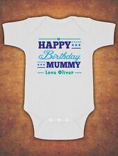 Personalised Happy Mummy Birthday  Baby Kids Present Grow Body Suit Vest Boy