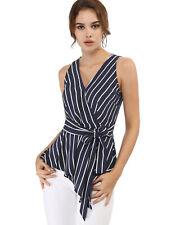 Allegra K Women's Striped Sleeveless V Neck Wrap Tie Waist Top