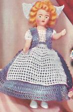 """Vintage Crochet PATTERN 8"""" Doll Clothes Dress Apron Vest Dutch Hat Miss Holland"""