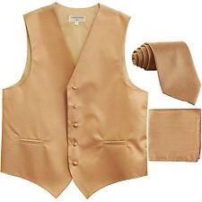New men's tuxedo vest waistcoat & neck tie set horizontal stripes prom beige