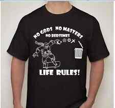 TMNT NO GODS NO MASTERS NO BEDTIMES Atheist T shirt anarchy Trash religions