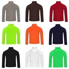 Kids Plain Basic Turtleneck Girls Roll Neck Top Boys Long Sleeve Tee Soft Shirt