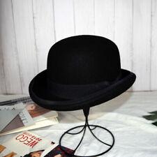 Black Mens 100% Wool Formal Hat Bowler Hat Casual Costume Wedding Accessories
