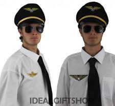 ADULT MENS AIRLINE PILOT CAPTAIN SET AVIATOR AVIATION COSTUME ACCESSORY HEN STAG