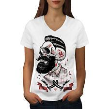 Cráneo Hipster Barba Mujeres Escote en V Camiseta Nuevo | wellcoda