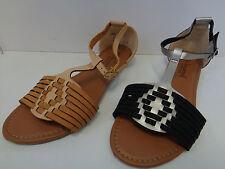 Savannah Da Donna Nero/Tan sandalo TBar UK Taglie 38 F00052
