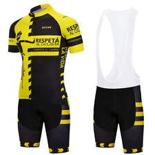 2018 Yellow Mens Team Racing Full Zipper Jersey and Bib Shorts Sets Pad Unique
