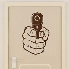 Sticker Géant XXL Loisir Tir Pistolet dans la Main, 50x32 cm à 90x57 cm (ARM001)