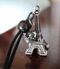 Lederkette Eiffelturm Paris Endlos Anhänger Wild Leder Schnur Kette Halskette