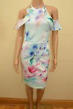 New Lipsy Blue Floral Scuba Cold Shoulder  Midi Dress Sz UK 10