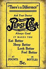 Pepsi COLA vintage giallo-metal wall sign (3 Taglie-piccolo/grande e Jumbo)