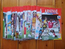 Arsenal Home Programmes 1992/93
