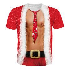 Christmas Sexy Muscle Tie Funny Print Women Men 3D T-Shirt Xmas Tee Short Sleeve