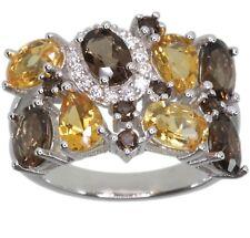 Smoky Quartz and Citrine Gemstone Cluster Sterling Silver Ring