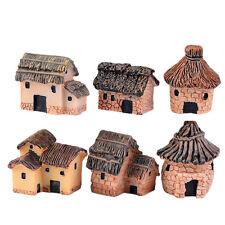 1/6pc Mini Thatched House Miniature Fairy Landscape Craft Micro Garden Décor EW