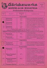 Göricke Verbraucher Preisliste 1.4.52 Goricke price list 1952 Motorrad Preise