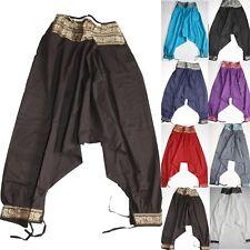 Pantaloni casual stonewashed ampia Hippie Boho Yoga Pantaloni Festival Elastico UT1
