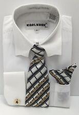 Boys Dress Shirt White with Black, White & Gold Tie & Hanky Size 4 New