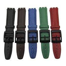 Reloj Correa De Cuero Para Swatch Caballeros 17 mm de ancho, cuero de calidad en 5 Colores