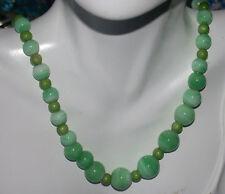 British 1940's Green Murano Swirled Glass Round bead 9K Gold Necklace 2c 7