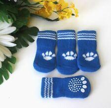USA SELLER Non Slip Grip Dog Cat Socks Skid-Free BLUE for Small Breed S, M, L