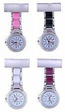 Censi Unisex Silver Diamante Bezel Nurse Tunic Brooch FOB Watch Analog Quartz