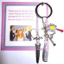 Hairdresser Hairstylist Gift Keyring Bag Charm Thank You Gift Bride Wedding