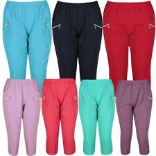Ladies Zip Capri Calf Length Bottoms Trousers Plus Size ¾ Cropped Pants 12-24