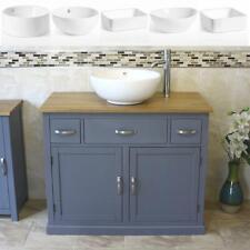 Bathroom Vanity Unit | Grey Cabinet Wash Stand with Ceramic Basin A