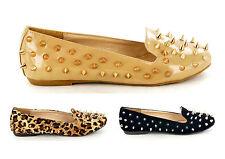 Nuevo Para Mujer Completa spike/stud Slip On Pump Zapatos Zapatillas Mocasines disponibles En Talle 3 A 8
