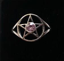 534 Pentagram Ring Pink Zircon gem solid 925 sterling silver sz N/Q/T rrp$59.95
