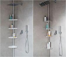 Etagère télescopique BLANC CHROME Armoire d'angle étagère de douche