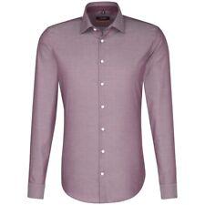 Seidensticker Herren Langarm Hemd Herrenhemd SLIM Kent Twill rot 677236.46