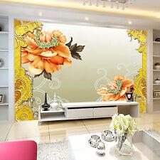 3D Orange flower large Wall Paper wallPrint Decal Wall Deco Indoor wall Mural