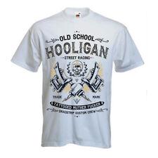 Dragstrip Clothing Mens White Hooligan Tattoo Life Rock N Roll Hot Rod T`Shirt
