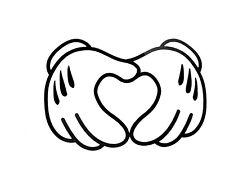Mickey Hands In Heart Vinyl Decal Sticker 75127