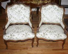 Important 1800 Circa  Italian Pair Walnut Arm Chairs W/Cherubs Figurine