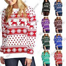 New Womens Christmas Reindeer Snowflake Novelty Fairisle Unisex Xmas Jumper Top