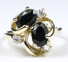 • R016-14, Black Onyx w/3 accents, 14k Yellow Gold Ladies Ring -Handmade
