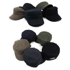 Velcroed liso Hombre Mujer Gorra Militar Cadete Sombrero Ajustable Visera