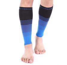 Doc Miller Calf Compression Sleeve 1 Pair 20-30mmHg Varicose Veins BLK/BLUE/BLUE
