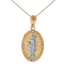 "10k Two Tone Yellow Gold St Patrick Diamond Engravable 1"" Oval Pendant Necklace"