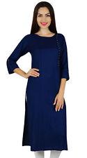 Bimba Women Blue Rayon Custom Kurta Designer Kurti 3/4 Sleeve Formal Tunic