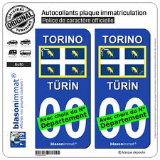2 Stickers autocollant plaque immatriculation Auto : Turin Ville - Drapeau