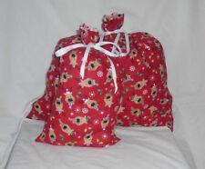 Raindeer Head Christmas Design Homemade Fabric Gift Bag with Ribbon