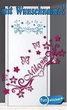 Türaufkleber  Wunschname Wandtattoo Mädchen Kinderzimmer Türschild Deko Sticker
